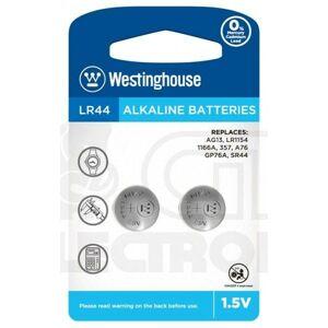 2 ks Knoflíková baterie Westinghouse LR44 (LR44, AG13, LR1154, 1166A, 357, A76, GP76A, SR44) 1,5 V alkalická
