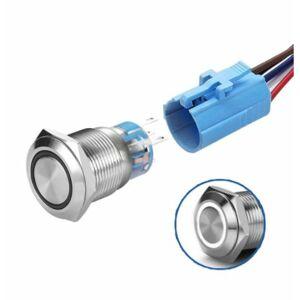 LED vodotěsný spínač 19mm - bílé podsvícení